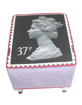 The Colour Union Royal Mail Velvet 37p Footstool, Black & Lilac