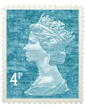 The Colour Union Royal Mail Wool Stamp Rug-Wall Hanging, Turquoise