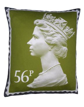 The Colour Union Royal Mail Iconic 56p Giant Stamp Cushion, Olive Green