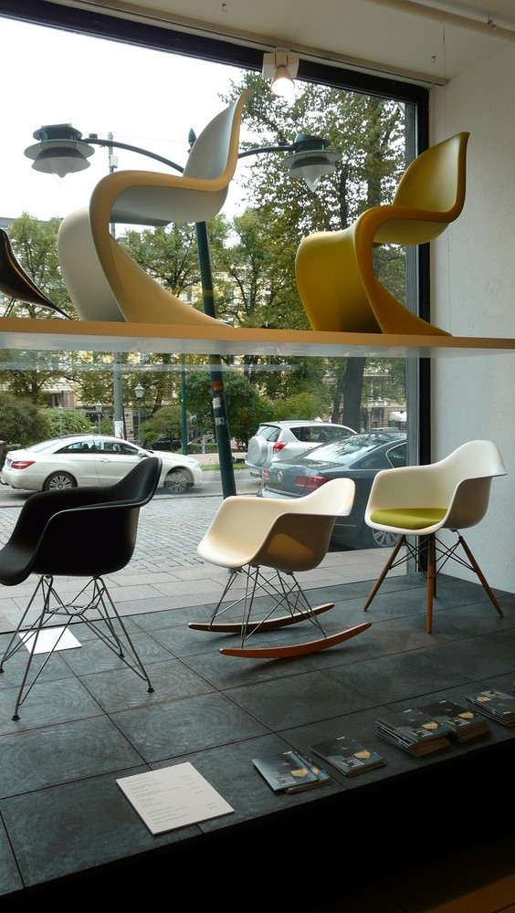 The icon chairs by Charles & Ray  Eames and Verner Panton