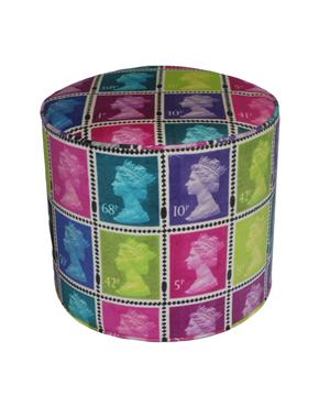 The Colour Union Royal Mail Velvet Stamp Pouf, Pink & Lime
