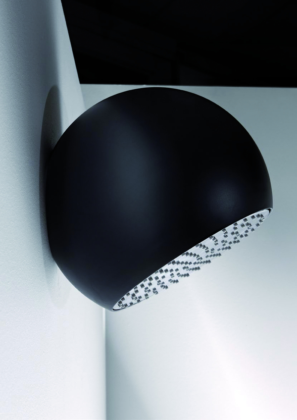 Sfera wall mounted black showerhead