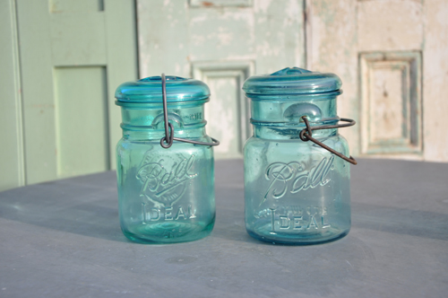 1976 vintage blue American Balls jars from Home Barn