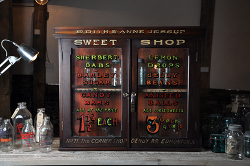 Sign written Victorian mahogany glass sweet cabinet from Home Barn