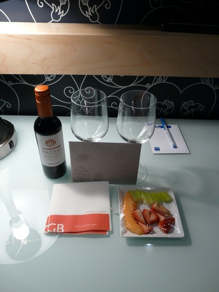The hotel left wine and a fruit platter to welcome us