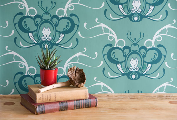 Aleister Crowley wallpaper in Felt Leaf by Grow House Grow