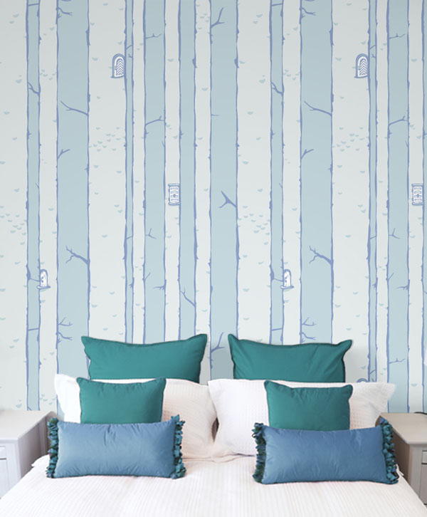 Christopher wallpaper in Cornflower by Grow House Grow