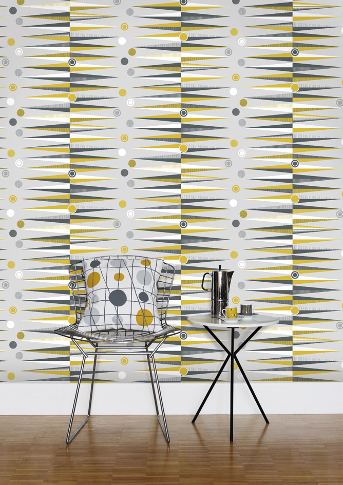 Mini Moderns Backgammon Wallpaper in Mustard