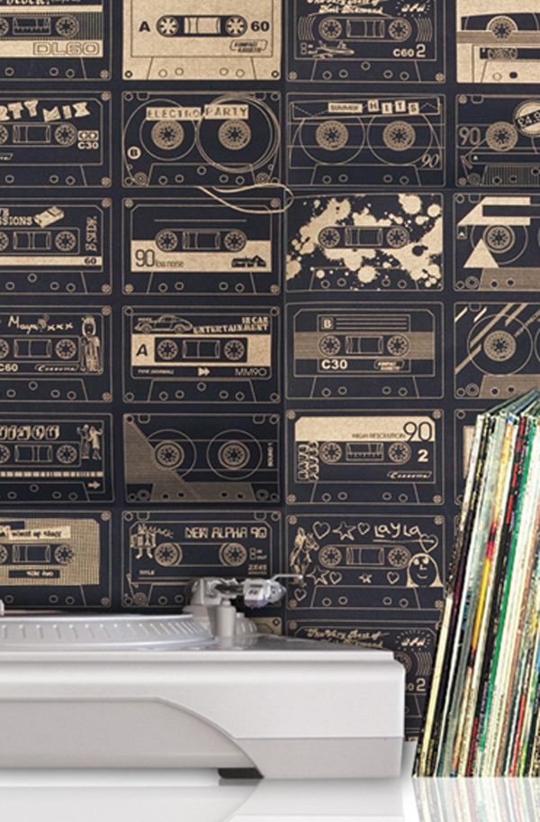 Mini Moderns C-60 Wallpaper - Chalkboard and Gold