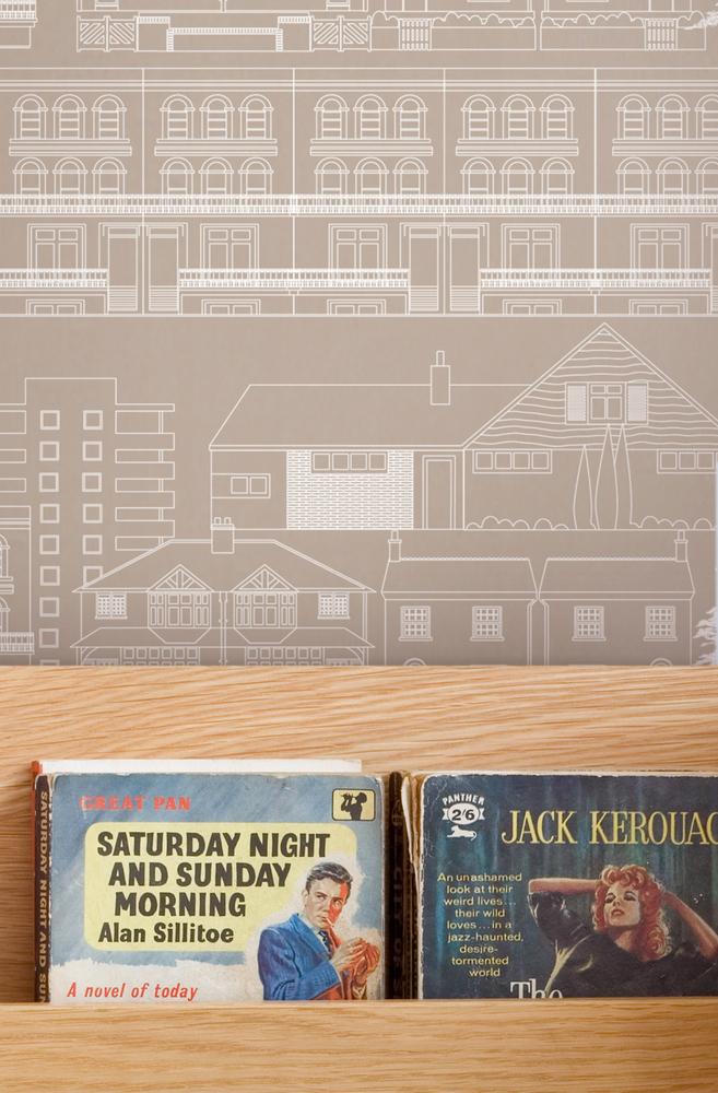 Mini Moderns Do You Live in a Town Wallpaper - Milk Chocolate