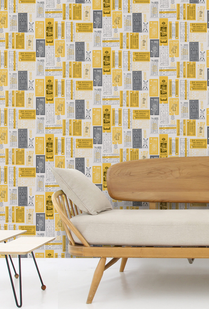 Mini Moderns Hold Tight Wallpaper - Mustard