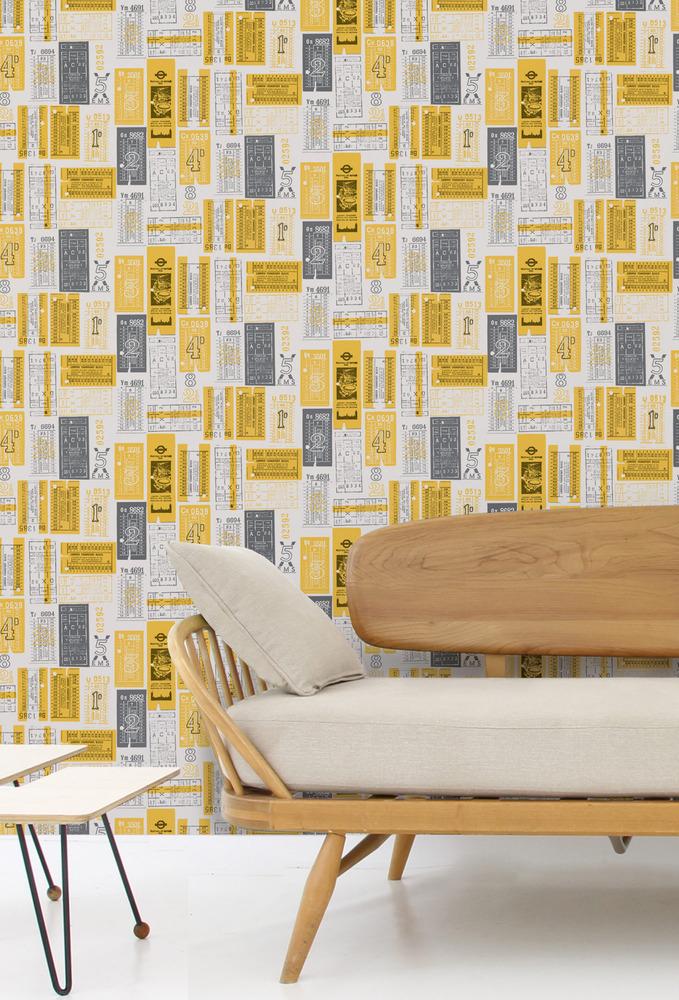 Mini Moderns Hold Tight Wallpaper - Mustard