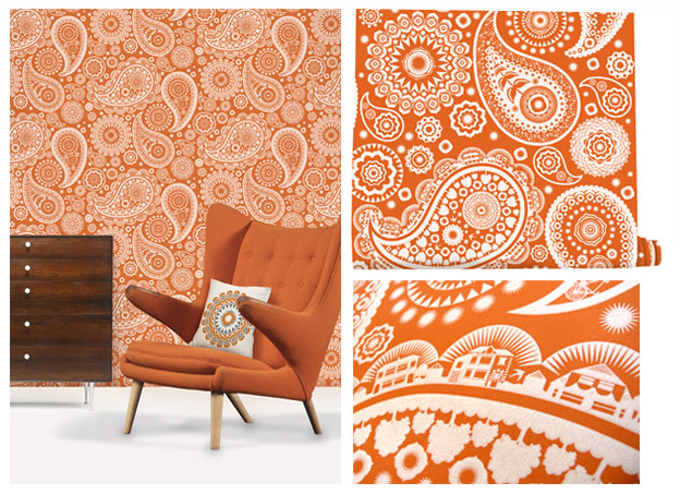 Mini Moderns Paisley Crescent Wallpaper - Tangerine Dream