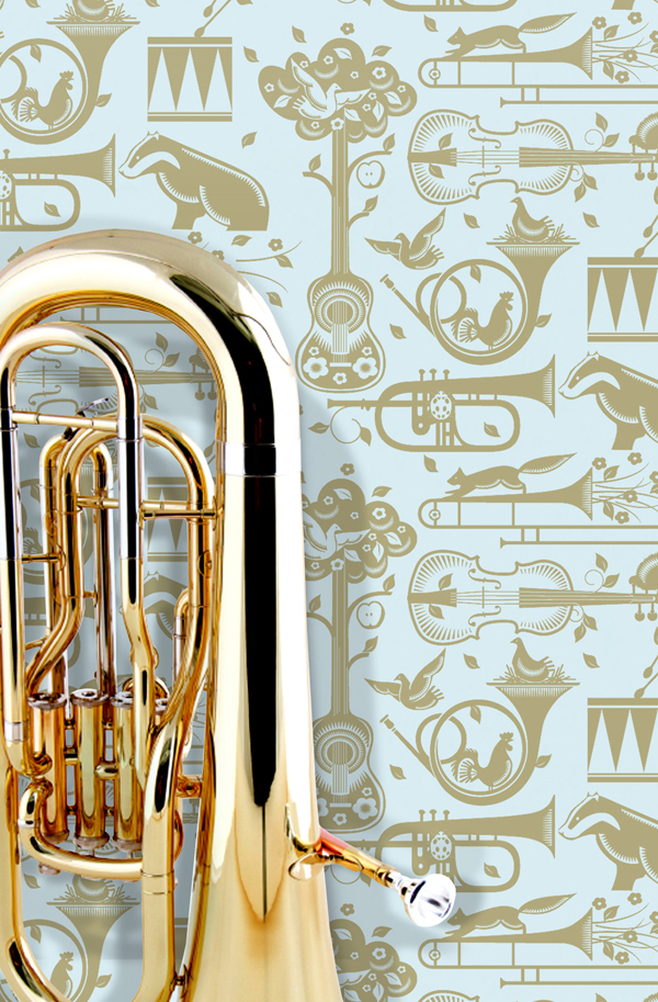 Mini Moderns Pet Sounds Wallpaper - Powder Paint Blue