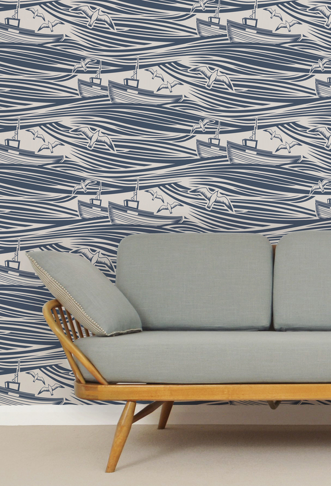 Mini Moderns Whitby Wallpaper - Washed Denim
