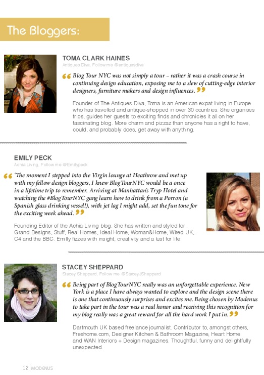 Modenus Best Of BlogTourNYC Magazine Bloggers page