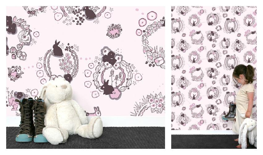 Emily Isabella Rabbit Tat Tat Pink Wallpaper from Hygge & West