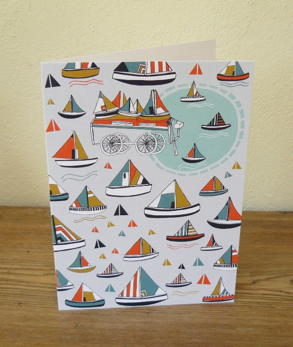 Boating in the Tuileries Gardens Greeting card by Jessica Hogarth