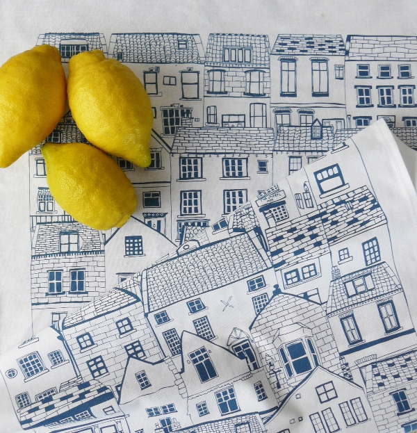 Coastal Cottages Tea Towel by Jessica Hogarth