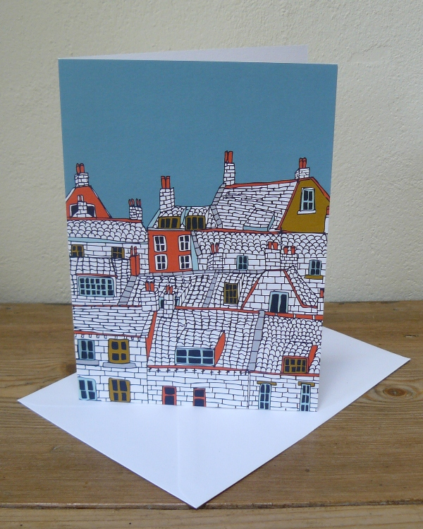 Over the Rooftops Greetings Card by Jessica Hogarth