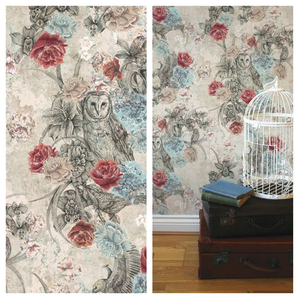 Birds of Prey Wallpaper by Surface Pattern Designer Louise Tiler