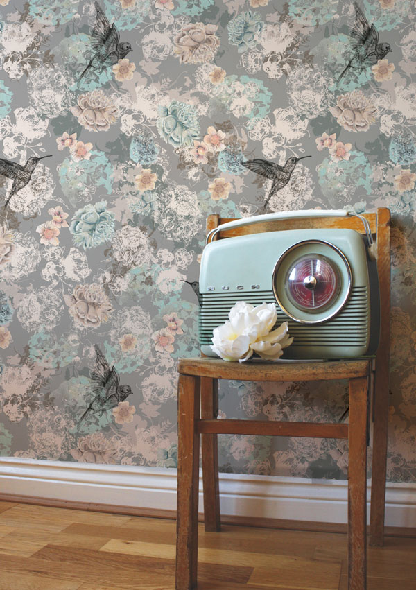 Birdsong wallpaper by Surface Pattern Designer Louise Tiler