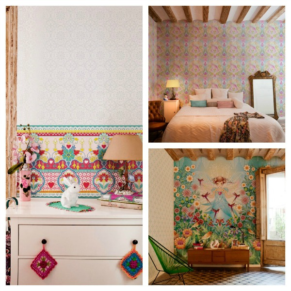 Colourful quirky wallpaper by catalina estrada the for Quirky wallpaper