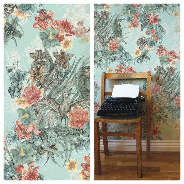 Kingfisher Wallpaper by Surface Pattern Designer Louise Tiler