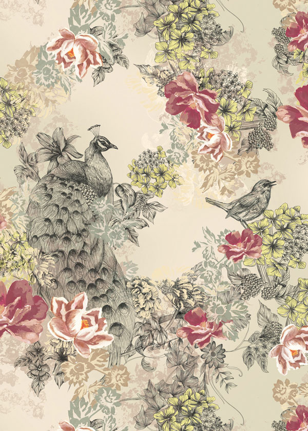 Peacock wallpaper by Surface Pattern Designer Louise Tiler